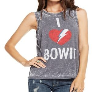 CHASER I Heart BOWIE Tank Top Women's Size M Gray